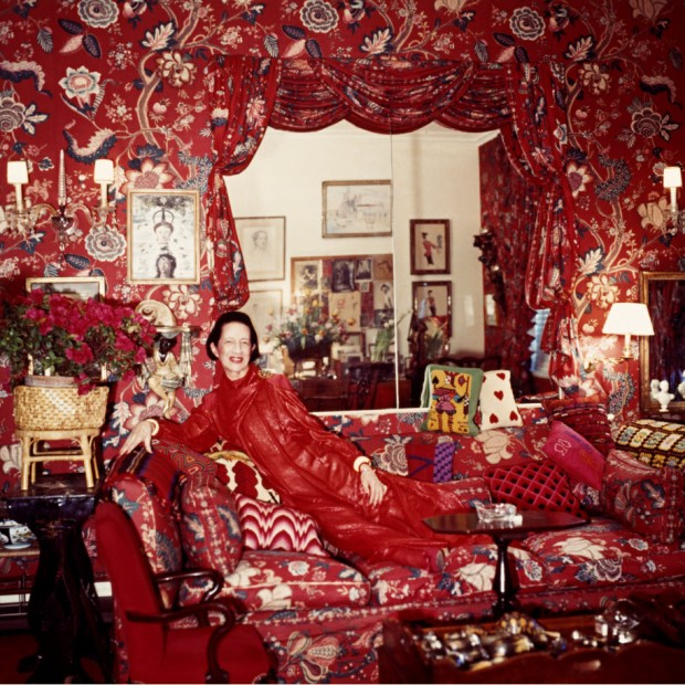 Diana Vreeland in her living room inspired by Orient